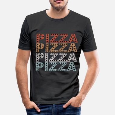 Retro Retro Sterne Distressed Vintage Pizza - Männer Slim Fit T-Shirt