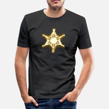 Wild America Office Gold Sheriff Star, Wild West America, Chief, Boss - Men's Slim Fit T-Shirt