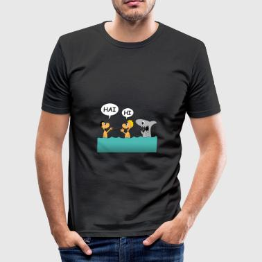 Tourist Tourists and shark - Men's Slim Fit T-Shirt