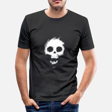 Matt Black Black White Skull Men's T-Shirts - Men's Slim Fit T-Shirt