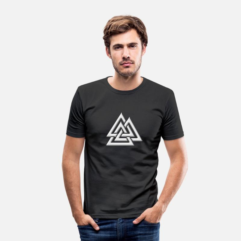 Rune Celtique Germanique T-shirts - Valknut ,Walknot, nœuds de Wotan, Walhalla, Odin - T-shirt moulant Homme noir