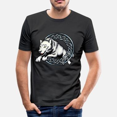 Leap Leaping Wolf - Men's Slim Fit T-Shirt
