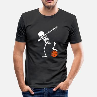 Funny Basketball Dab dabbing skeleton football basketball - Men's Slim Fit T-Shirt
