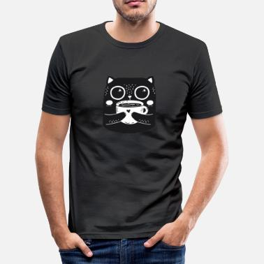Coffee Owl Black black_cat - Men's Slim Fit T-Shirt