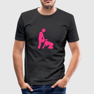 sex love couple blow job icon kama_2) - Men's Slim Fit T-Shirt