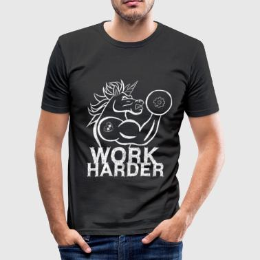 Workout Arbeid Hardere Gym Workout Muscle Bodybuilding - Slim Fit T-skjorte for menn