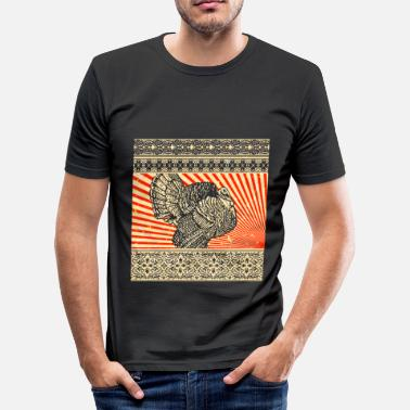 Thanksgiving Thanksgiving Animal Retro Acción de Gracias - Camiseta ajustada hombre