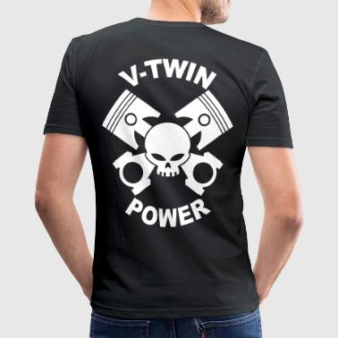 V-twin power skull - Männer Slim Fit T-Shirt