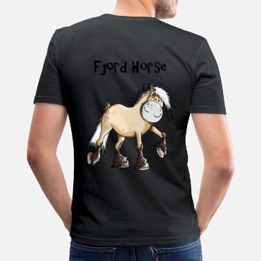 Fjord Horse Cartoon Happy Fjord Horse - Men's Slim Fit T-Shirt