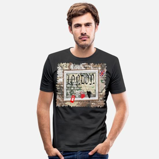 Big Ben T-Shirts - London wall with picture, London wall with picture, - Men's Slim Fit T-Shirt black