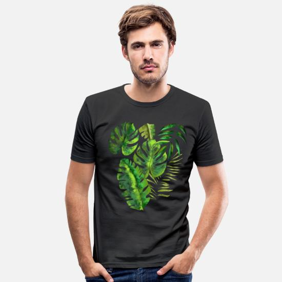Forest T-Shirts - Pattern leaves palm leaves jungle - Men's Slim Fit T-Shirt black