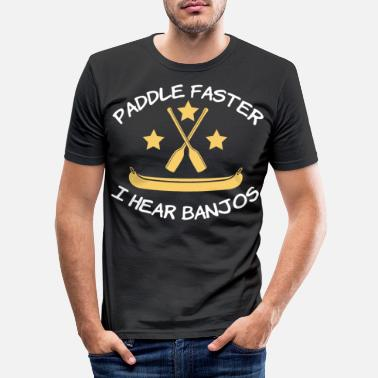 Hilarious Awesome & Trendy Tshirt Designs Paddle faster I - Men's Slim Fit T-Shirt