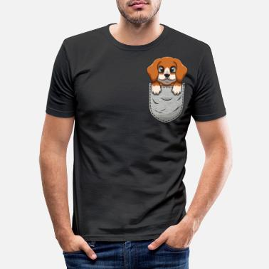 Pocket Beagle in de borstzak voor - Mannen slim fit T-shirt