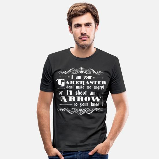 Game T-Shirts - Gamemaster Arrow To The Knee | Funny gift - Men's Slim Fit T-Shirt black