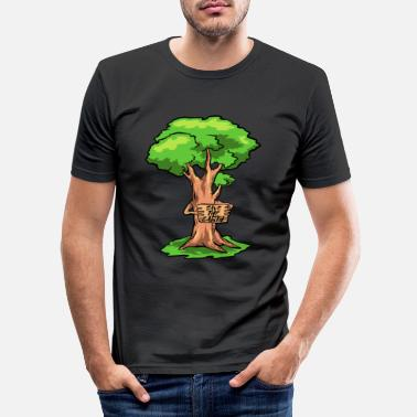 Demonstrere Earthday Tree demonstrerer - Slim fit T-skjorte for menn