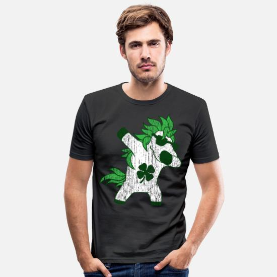 Clover T-Shirts - St. Patrick's Day dab horse - Men's Slim Fit T-Shirt black