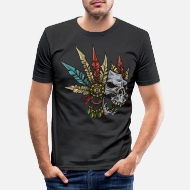 Skull Indian skull with feathers - gift idea - Men's Slim Fit T-Shirt