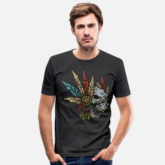 Skull T-Shirts - Indian skull with feathers - gift idea - Men's Slim Fit T-Shirt black