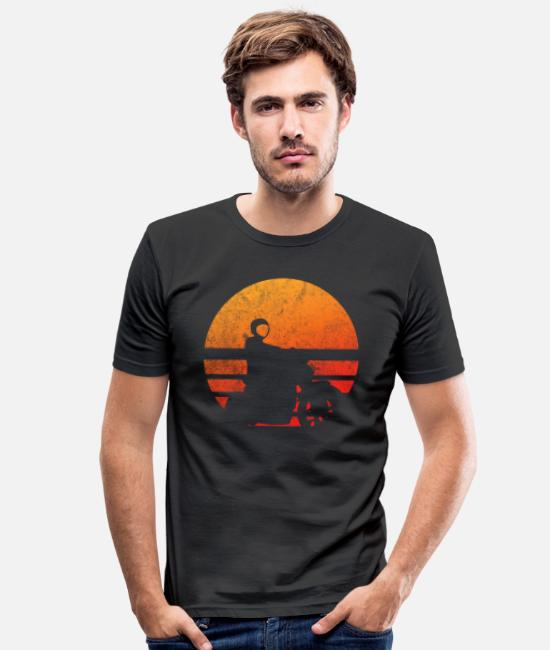 B Day T-Shirts - Retro Motorcycle Wheely - Men's Slim Fit T-Shirt black