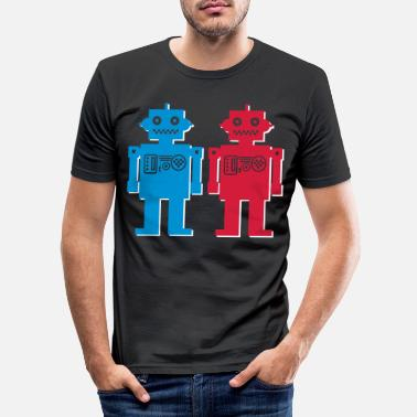Funky retro robot couple - Men's Slim Fit T-Shirt