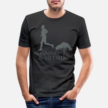 Man Running Jogging Fitness Man Gift Idea - Men's Slim Fit T-Shirt