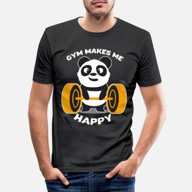 Weight Panda gym dumbbell sports gift - Men's Slim Fit T-Shirt
