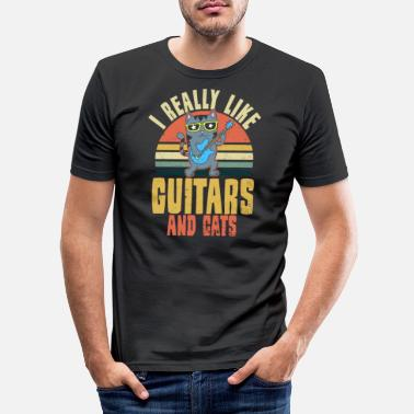 Playing Cat Playing Guitar Vintage Retro Really Like Gift - Men's Slim Fit T-Shirt