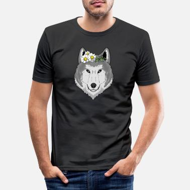 Bloom Cute wolf with flowers gift I wolves wilderness - Men's Slim Fit T-Shirt