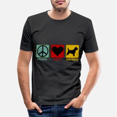 Byracka Cairn Terrier Dog Retro Style - Peace Love - T-shirt slim fit herr
