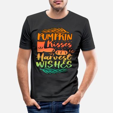 October Pumpkin Kisses Harvest Autumn Saying - Men's Slim Fit T-Shirt