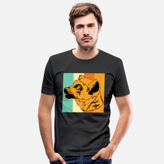 Enviromental T-Shirts - Endemic lemur animal of Madagascar - Men's Slim Fit T-Shirt black