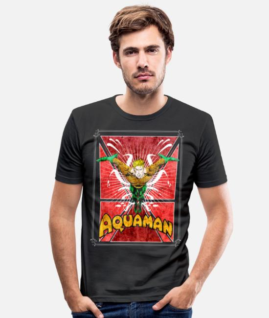 Superhero T-shirts - Aquaman teenager T-shirt - Mannen slim fit T-shirt zwart