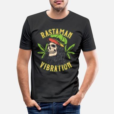Ganja Rastaman vibration cannabis hampa bladgräs - T-shirt slim fit herr