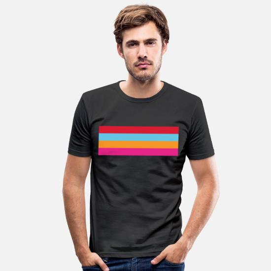 Stripes T-shirts - Happy Summer - Mannen slim fit T-shirt zwart