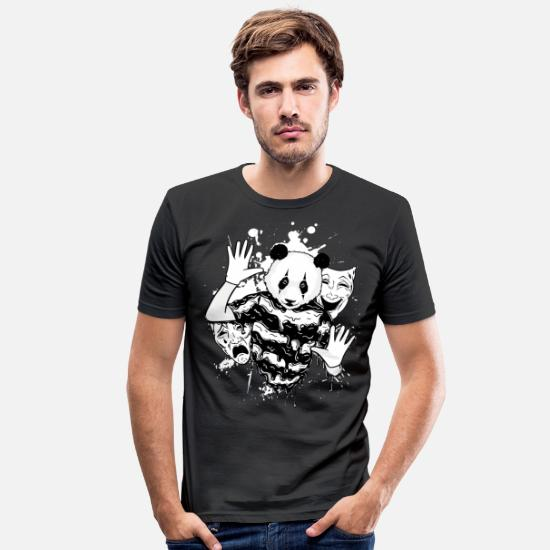 Rap T-Shirts - Pandamaske - Rapper - Theaterdesign - Männer Slim Fit T-Shirt Schwarz