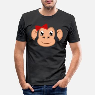 Lazy Floral Monkey Animal Halloween Costume Gift - Men's Slim Fit T-Shirt