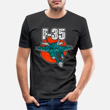 Fighter F-35 fighter fighter plane flying military USA jet - Men's Slim Fit T-Shirt