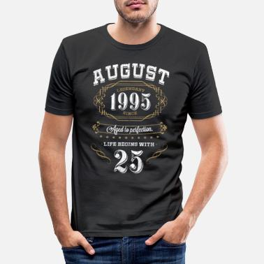 August 25 Birthday Aged To Perfection 1995 Gift - Men's Slim Fit T-Shirt