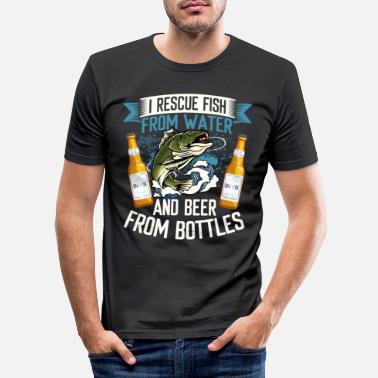 Pregnancy I Rescue Fish From Water And Beer From Bottles - Men's Slim Fit T-Shirt