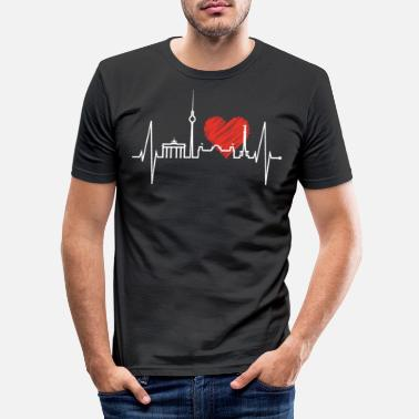 Berlin Berlin Heartbeat Skyline Heart Gift Souvenir - Men's Slim Fit T-Shirt