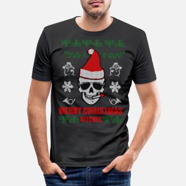 Christmas Ugly Skull Christmas Merry Christmas Xmas gåva - T-shirt slim fit herr