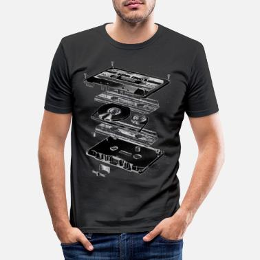 Musik Kassette Schwarz - Tape - Audio - 80s - Männer Slim Fit T-Shirt