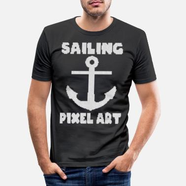 Pixel Sailing anchor pixel art 8 bit - Men's Slim Fit T-Shirt