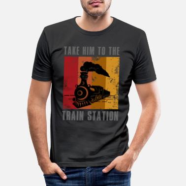 Cowboy Train, train construire des trains, montana, - T-shirt moulant Homme