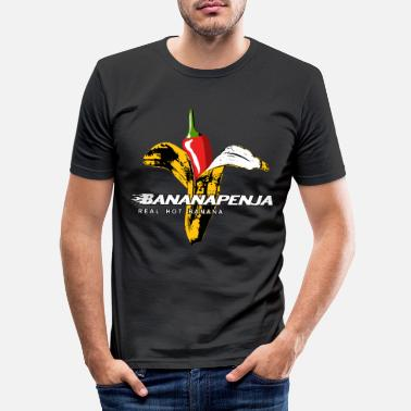 Chilischote Bananapenja - White Text - Männer Slim Fit T-Shirt
