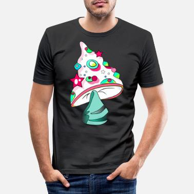Lucky Guy White Fungi - lucky guy - Men's Slim Fit T-Shirt