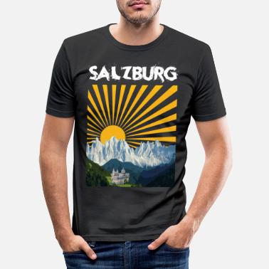 Summit Castle Salzburg Font Mountains Austria Austria Alps - Men's Slim Fit T-Shirt
