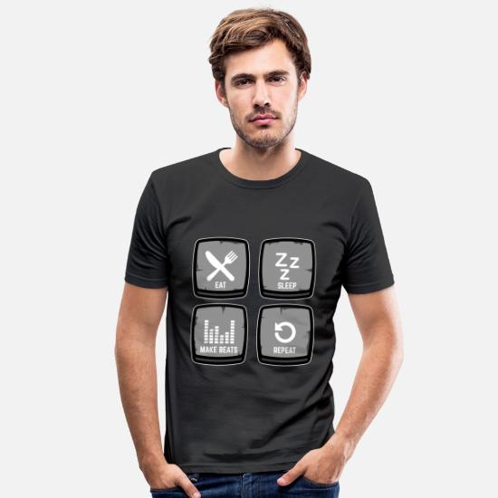 Bass T-Shirts - Drum Machine Make Beats Rap Beatmaker Gift DAW - Men's Slim Fit T-Shirt black