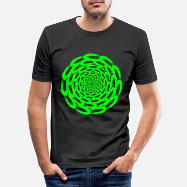 Vector Optical illusion deep circle design green - Men's Slim Fit T-Shirt