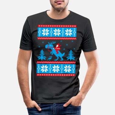 Christmas Jurassic ugly christmas - Mannen slim fit T-shirt